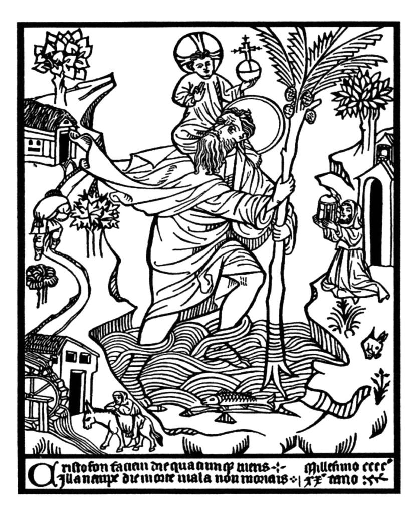 Anônimo, São Cristóvão, 1423 (gravura em madeira)